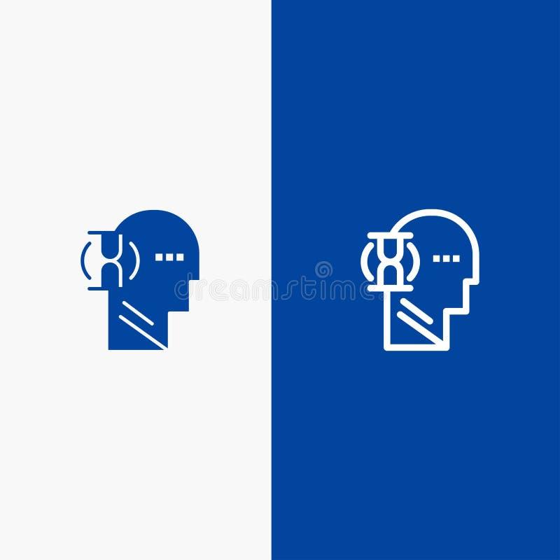 Espera, vidrio, usuario, bandera azul de bandera del icono sólido masculino de la línea y del Glyph del icono sólido azul de la l ilustración del vector