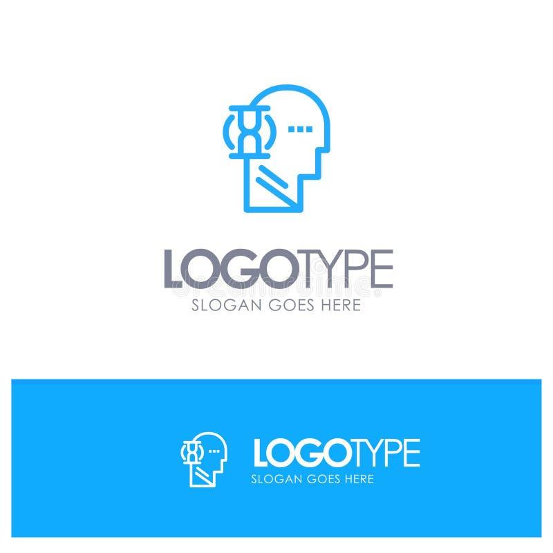 Espera, vidrio, usuario, esquema azul masculino Logo Place para el Tagline stock de ilustración