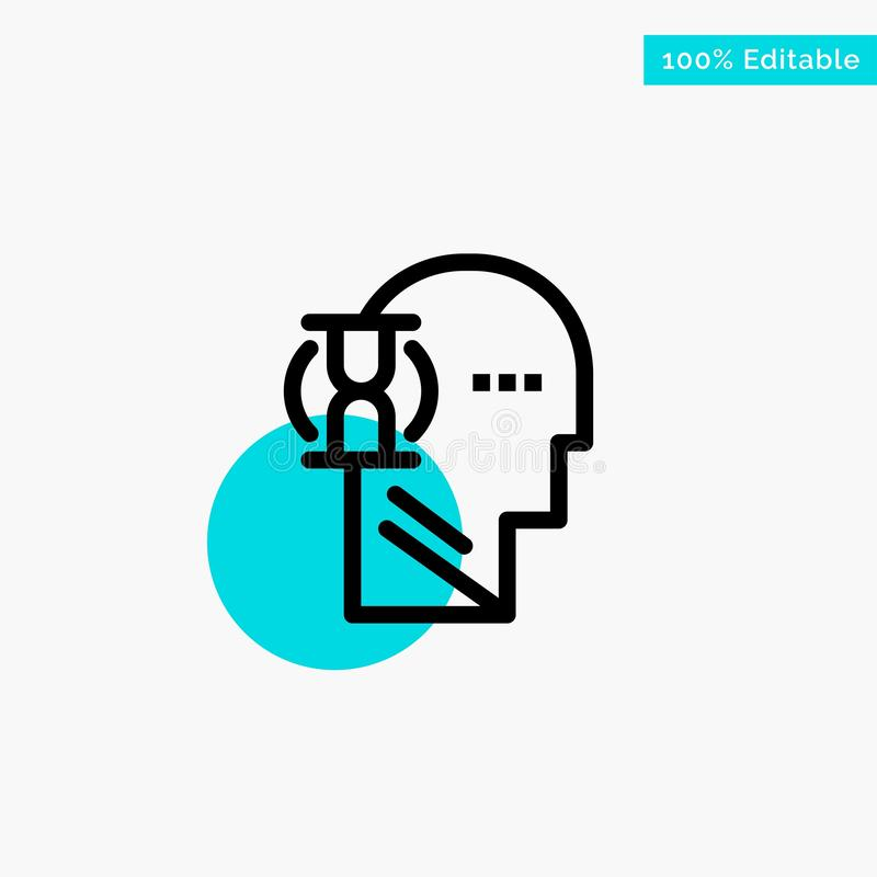 Espera, vidrio, usuario, icono masculino del vector del punto del círculo del punto culminante de la turquesa ilustración del vector
