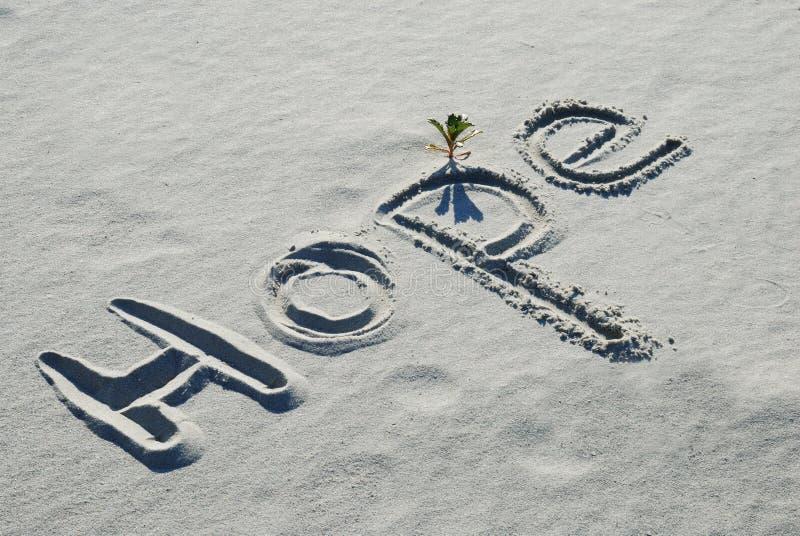A esperança da palavra escrita na areia fotografia de stock