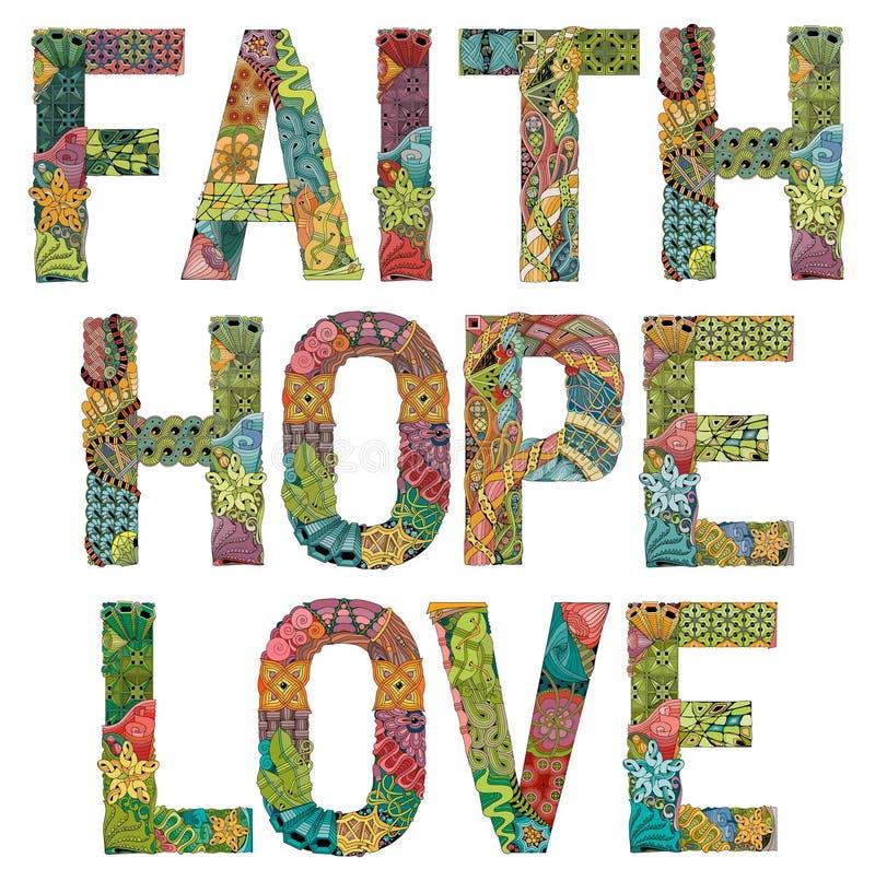 Esperança e amor da fé das palavras Objeto decorativo do zentangle do vetor ilustração stock