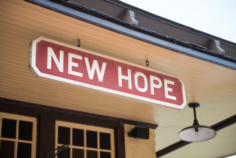 ESPERANÇA NOVA, PA - 11 DE AGOSTO: A estrada de trilho novo da esperança e do Ivyland é uma linha do trem da herança para os visi fotos de stock royalty free