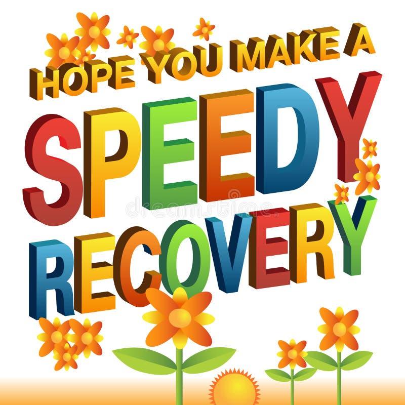 Esperança você faz uma mensagem da recuperação rápida ilustração stock