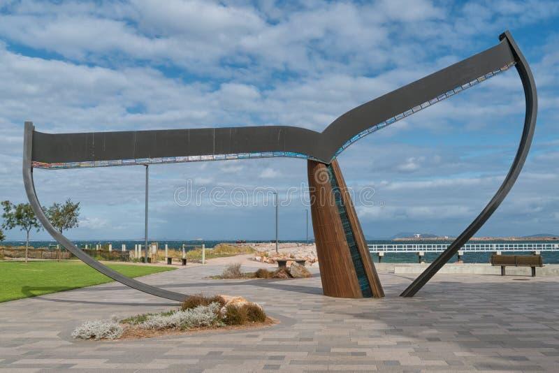Esperance, Western Australia. ESPERANCE, AUSTRALIA - JANUARY 30, 2018: The whale fin, landmark of the city of Esperance on January 30, 2018 in Western Australia royalty free stock images