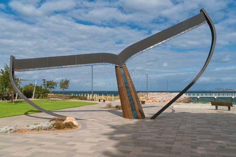 Esperance, Western Australia. ESPERANCE, AUSTRALIA - JANUARY 30, 2018: The whale fin, landmark of the city of Esperance on January 30, 2018 in Western Australia royalty free stock photos
