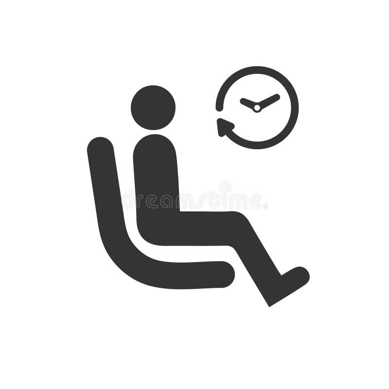Esperando, ícone da sala de espera ilustração royalty free