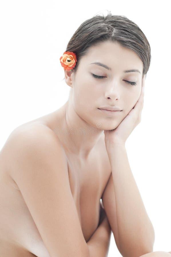 Esperando a massagem em termas da beleza imagens de stock