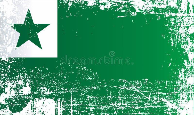 Esperantoflaggor Rynkiga smutsiga fläckar stock illustrationer