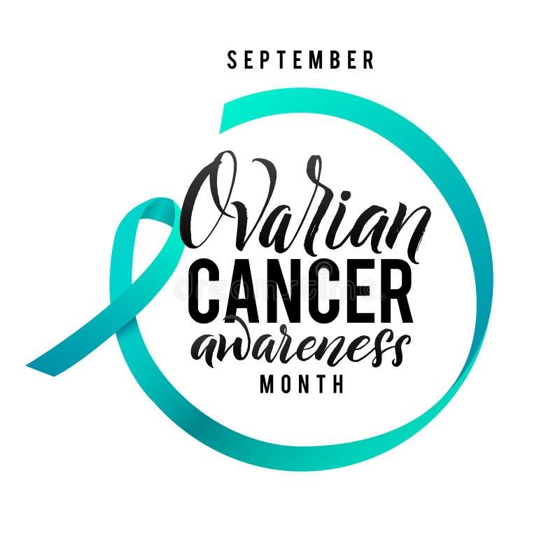 Esperanza del cáncer Etiqueta de la conciencia del cáncer ovárico Vector Tamplate con Teal Ribbon - símbolo de la lucha del cánce ilustración del vector