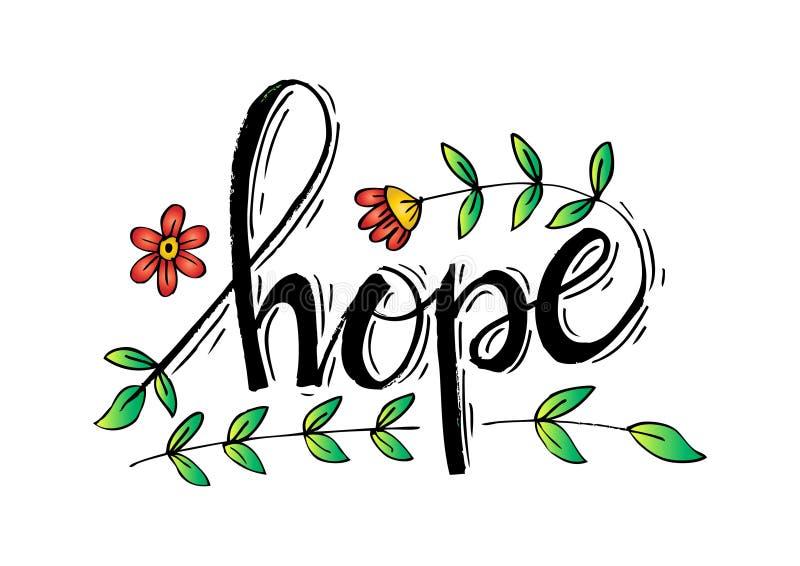 Esperanza del diseño de letra con floral ilustración del vector