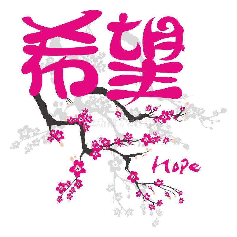 Esperanza Evangelio en kanji japonés ilustración del vector