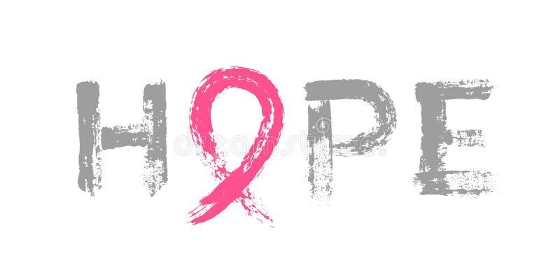 Esperanza que pone letras a conciencia rosada del cáncer de pecho de la cinta stock de ilustración