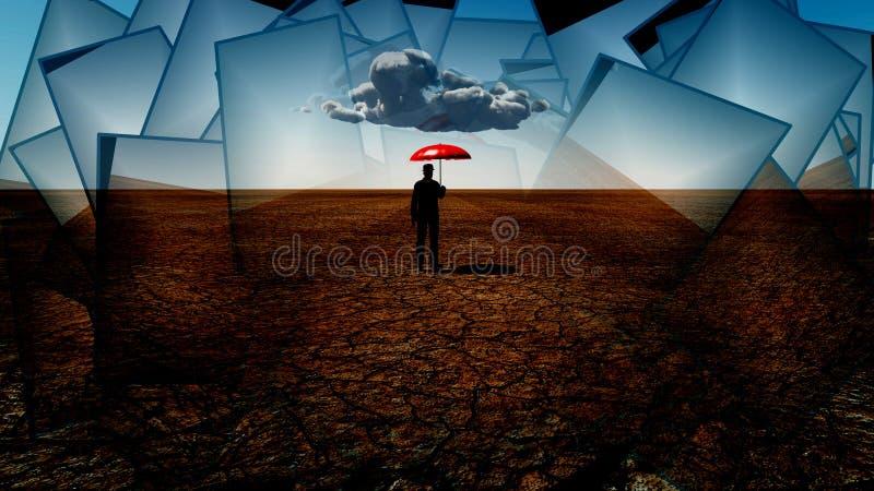 Esperar la lluvia stock de ilustración