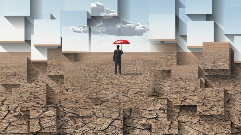 Esperar la lluvia ilustración del vector