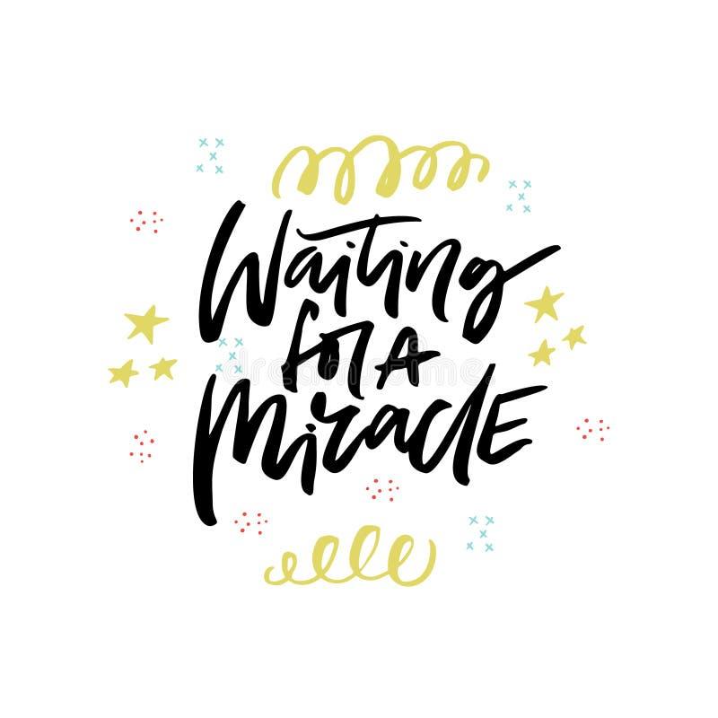 Esperar una caligrafía del movimiento del cepillo del milagro stock de ilustración
