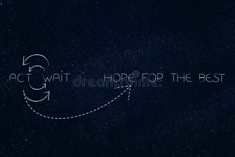 Espere el mejor entre la actuación o esperar en un cycl repetidor ilustración del vector
