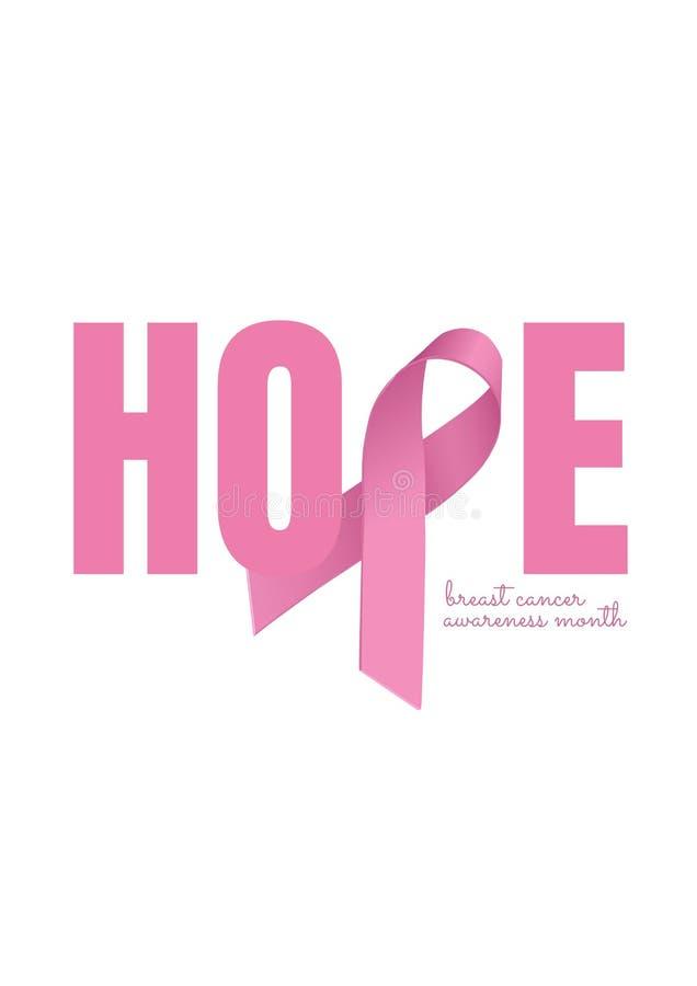 Espere el texto con concepto rosado de la conciencia del cáncer de la cinta y de pecho stock de ilustración