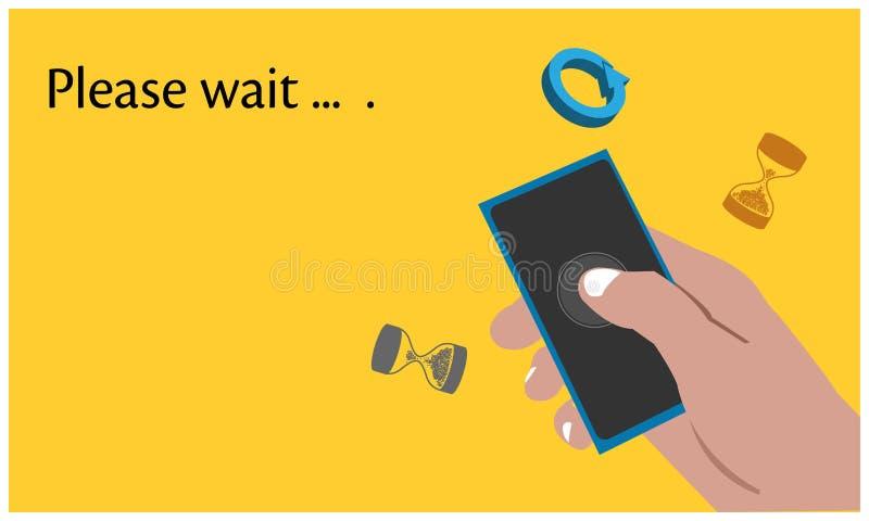 Espere por favor con smartphone de mano en el fondo amarillo Ejemplo plano del vector ilustración del vector