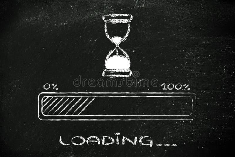 Espere por favor el ejemplo del reloj de arena con la barra de progreso fotografía de archivo libre de regalías