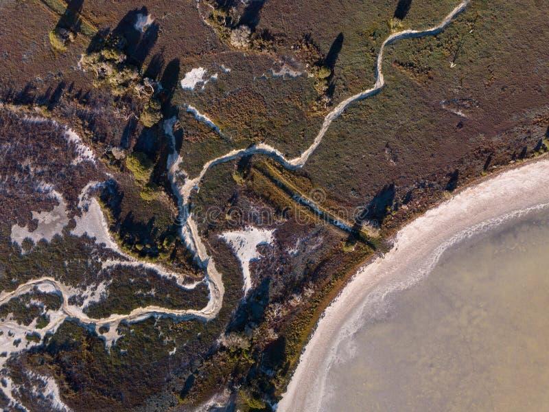 Esperence强湿地和盐湖空中射击自然保护的 免版税库存照片