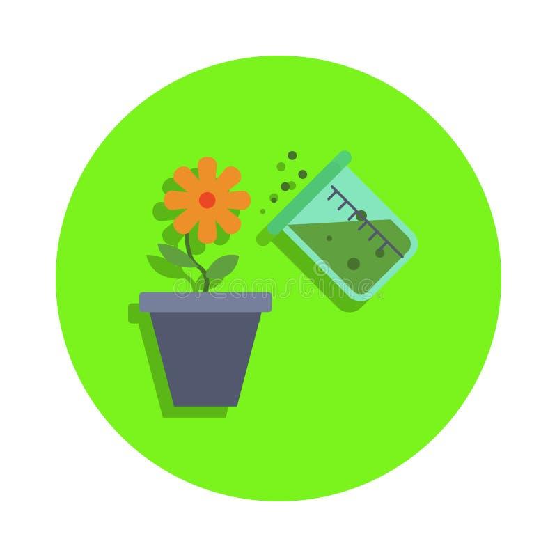 esperienza chimica colorata con un fiore nell'icona verde del distintivo Elemento di scienza e del laboratorio per il concetto ed illustrazione vettoriale