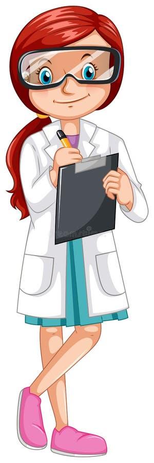 Esperimento femminile della registrazione dello scienziato royalty illustrazione gratis