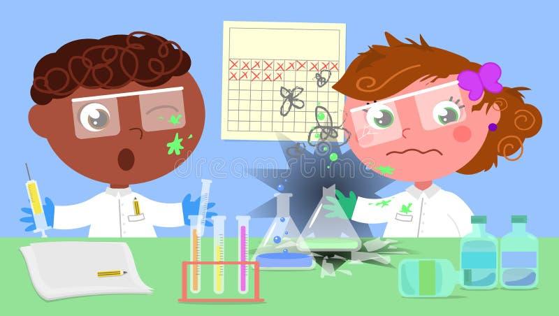 Esperimento pericoloso guastato in laboratorio illustrazione di stock