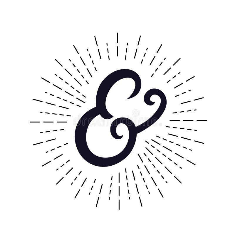 Esperluète écrite par main élégante avec les rayons légers, rayon de soleil illustration de vecteur