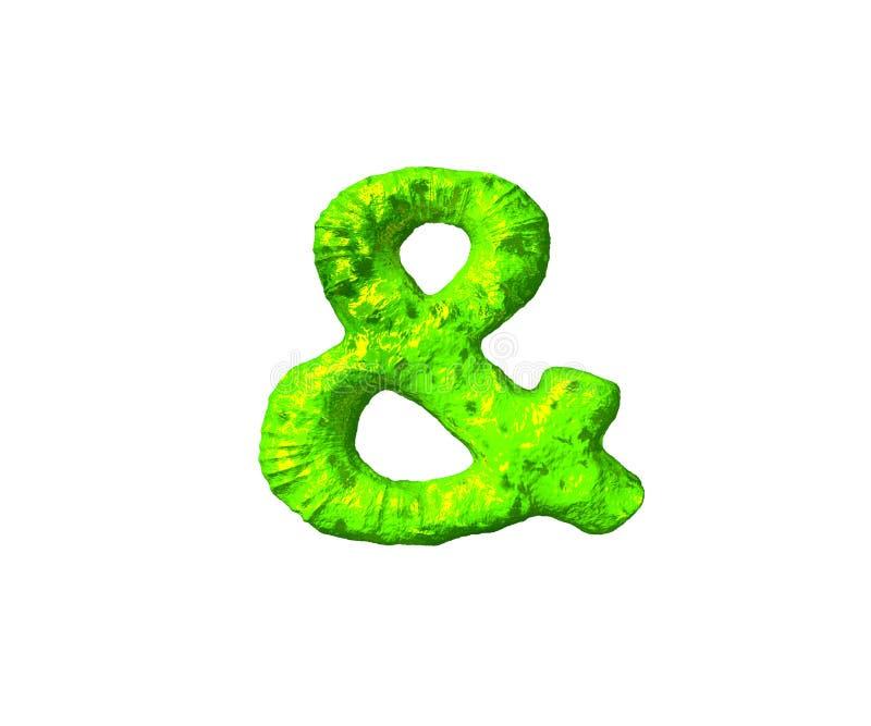 Esperluète dans le style de l'espace d'isolement sur le fond blanc - alphabet toxique de boue, illustration 3D des symboles illustration libre de droits