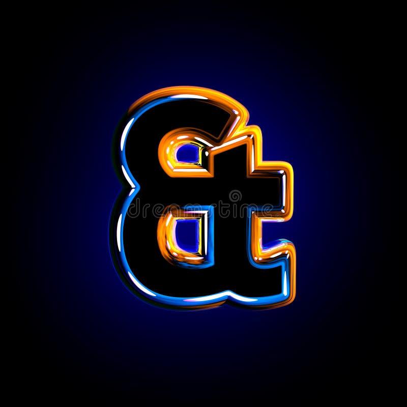 Esperluète de la police polie bleu-foncé vitreuse d'isolement sur le fond noir - illustration 3D des symboles illustration de vecteur