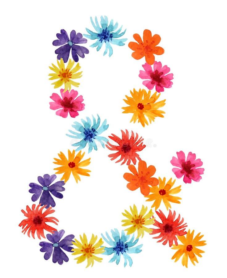 Esperluète des wildflowers illustration d'aquarelle pour la conception illustration libre de droits