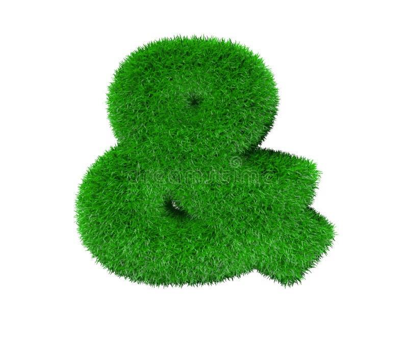 Esperluète faite en feuillage vert d'isolement sur blanc, concept de nature - illustration 3D des symboles illustration stock