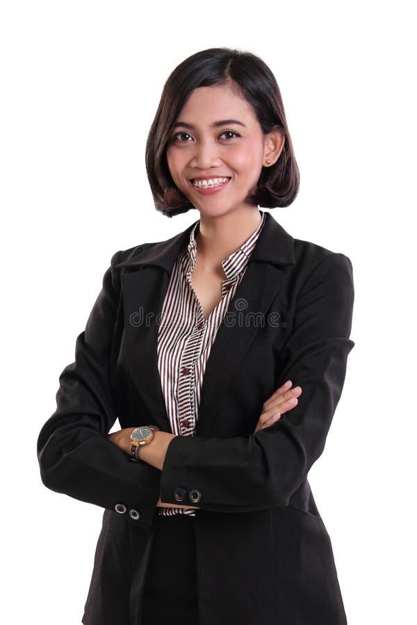 Esperto femminile sicuro in affari, isolato su bianco immagine stock