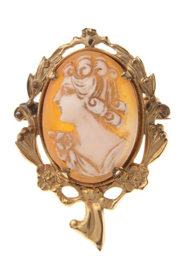 Espeto antigo do brooch do cameo isolado no branco imagens de stock