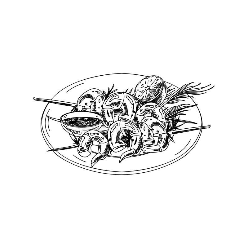 Espetos tirados mão do camarão do vetor com molho ilustração do vetor
