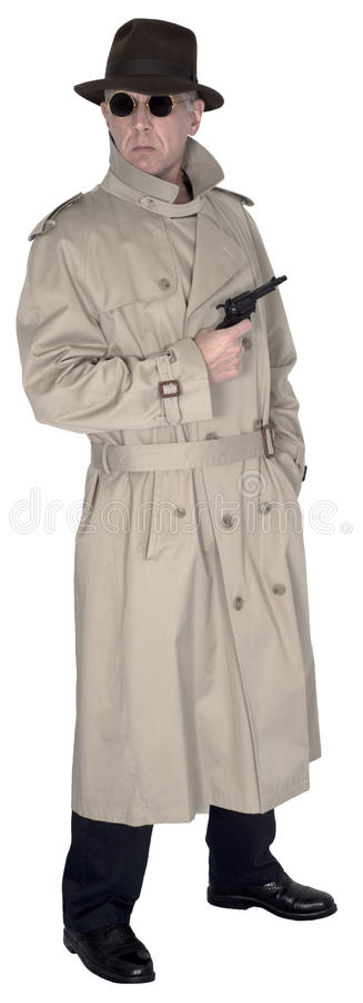 Espião, agente secreto ou detetive privado Isolated foto de stock royalty free