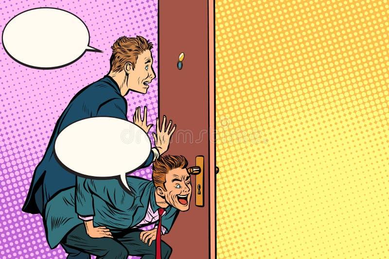 Espião do negócio através da porta ilustração royalty free