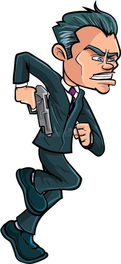 Espião running dos desenhos animados em um terno com uma arma ilustração do vetor