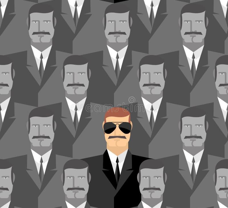 espião Teste padrão sem emenda dos povos Uma multidão de homens ilustração do vetor