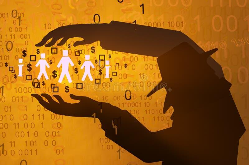 Espião virtual, posse dos dados ilustração royalty free