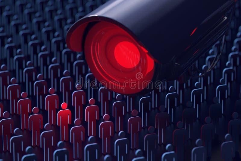 Espiões gigantes da câmara de vigilância um homem Nenhuns segredos, nenhum conceito da privacidade rendição 3d ilustração do vetor