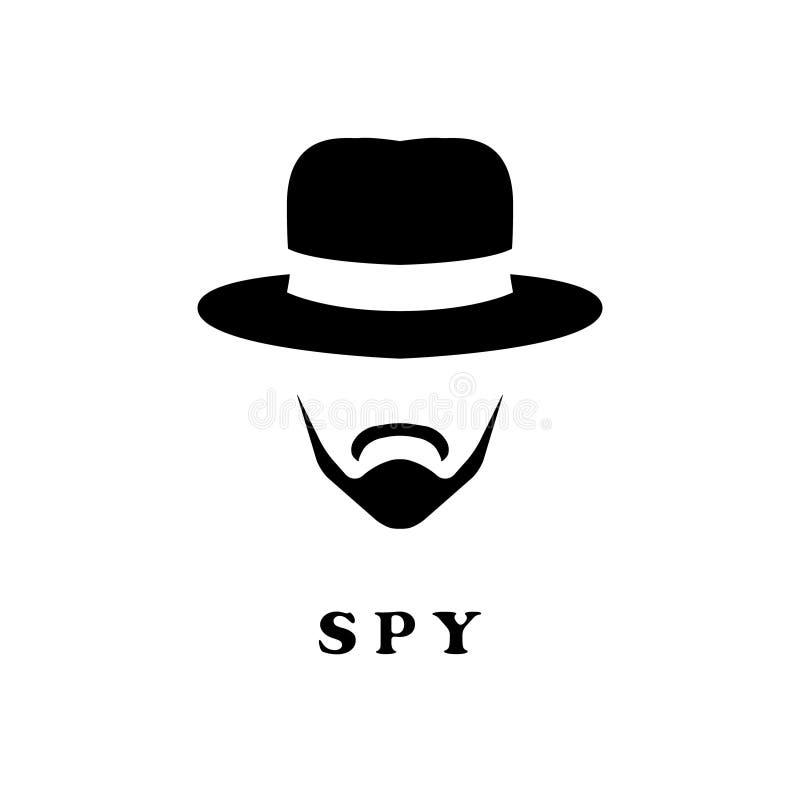 Espie o homem no chapéu e com um bigode ilustração do vetor
