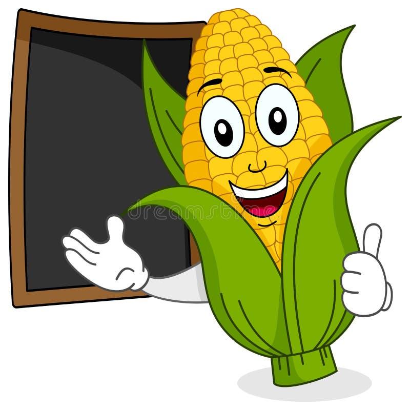 Espiga de milho alegre com quadro-negro do menu ilustração do vetor