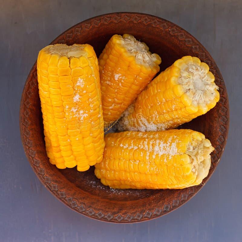 Espiga de milho em uma bacia fotos de stock royalty free