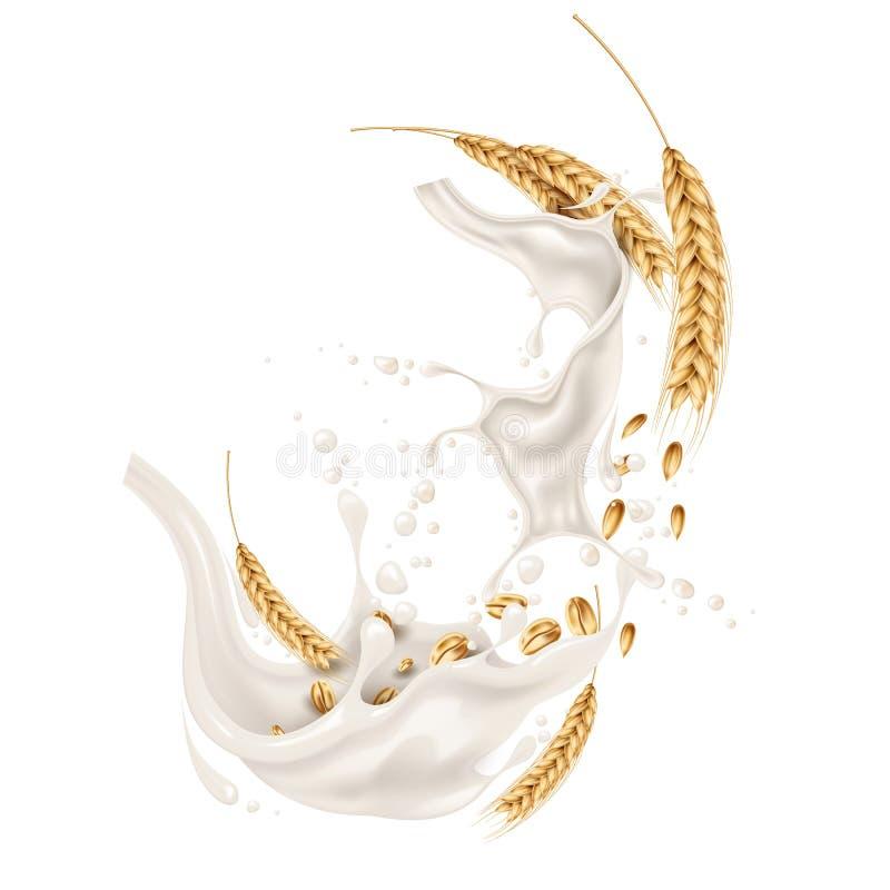 Espiguillas de los oídos del trigo del vector realistas con los granos stock de ilustración