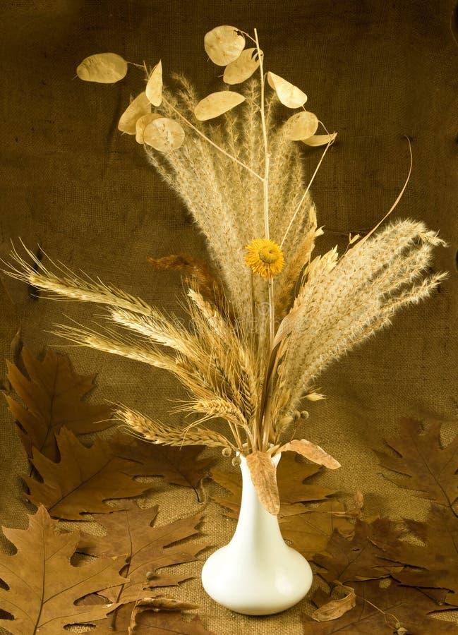 Espiguillas y flores en un florero imágenes de archivo libres de regalías
