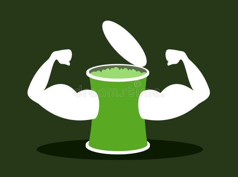 Espinafres como o superfood saudável - bíceps forte e músculo muscular como o símbolo da força saudável ilustração do vetor