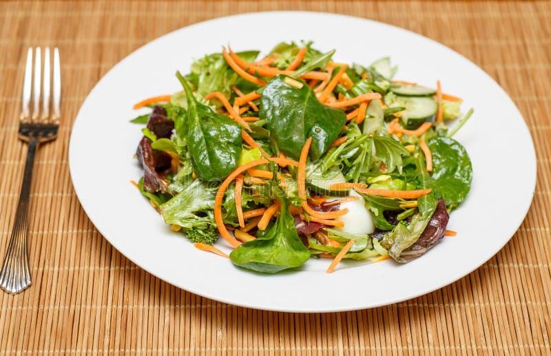 Espinafres e salada de verdes com molho e forquilha fotografia de stock