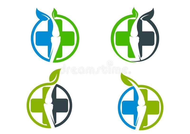 Espinal, osso, ortopedia, espinha, folha, quiroterapia, natural, logotipo e ícone ilustração royalty free