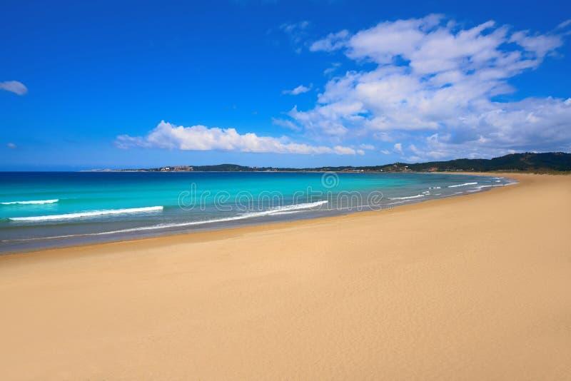 Espineiro Lanzada beach in Pontevedra of Galicia. In Sanxenxo also Sanjenjo at Spain royalty free stock photography
